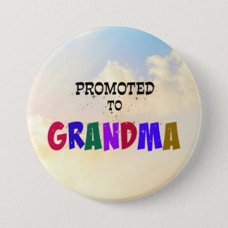 Promoted to Grandma, Pastel Clouds Design 7.5 Cm Round Badge