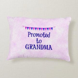 """Promoted to Grandma"" pink bokeh background Decorative Cushion"