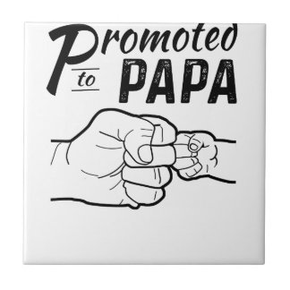 Promoted To Papa New Grandpa Mens Shirt Ceramic Tile