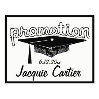 Promotion Graduation Typography Hat Save The Date Postcard