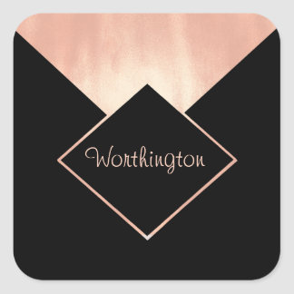 Promotional Business Rose Gold Metallic Feminine Square Sticker