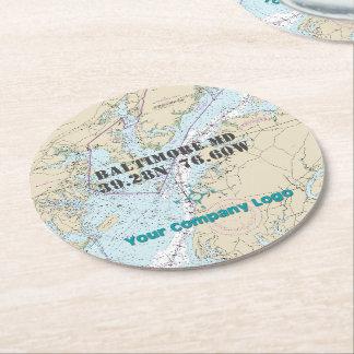 Promotional Logo Latitude Longitude Maryland Chart Round Paper Coaster