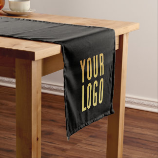 Promotional Your Company or Event Logo Black Short Table Runner