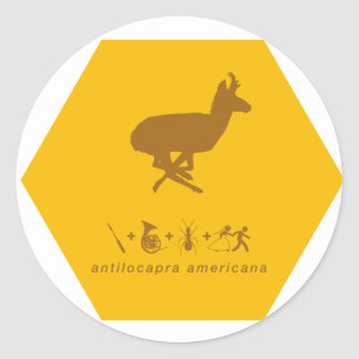 pronghorn yellow and brown.png classic round sticker
