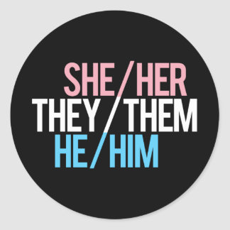 Pronoun Triad, Round Round Sticker