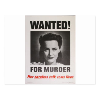 """Propaganda Poster """"Wanted for Murder"""" WWII Postcard"""