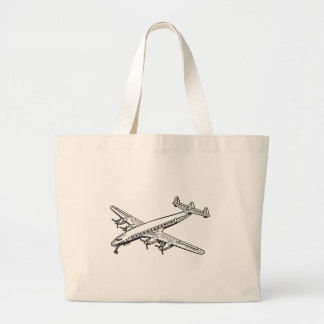 Propeller Airplane Drawing Large Tote Bag