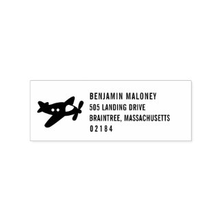 Propeller Plane Return Address Rubber Stamp