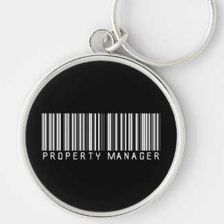 Property Manager Bar Code Silver-Colored Round Key Ring