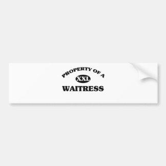 Property of a WAITRESS Bumper Sticker