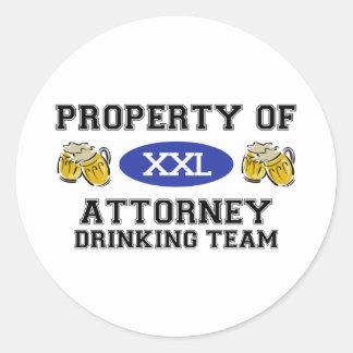 Property of Attorney Drinking Team Round Sticker
