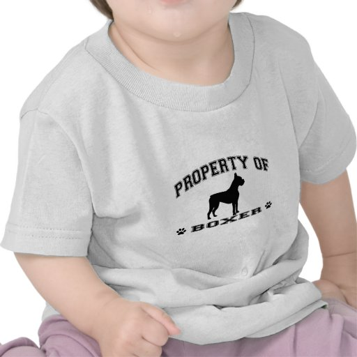 """""""Property of Boxer"""" words with dog silhouette T-shirts"""