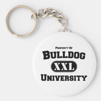 Property of Bulldog University Basic Round Button Key Ring