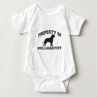 """Property of """"Bullmastiff"""" with silhouette graphic Baby Bodysuit"""