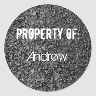 property of classic round sticker