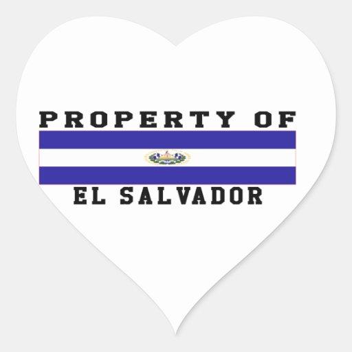 Property Of El Salvador Heart Stickers