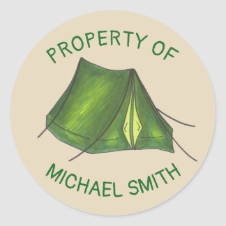 Property of Green Camping Summer Camp Tent Gear Classic Round Sticker