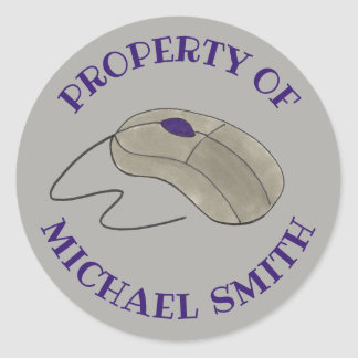Property Of Grey Computer Mouse Personalized Classic Round Sticker
