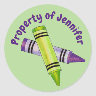 Property of Personalised Green Purple Crayon Classic Round Sticker