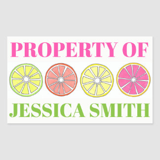 Property of Personalized Citrus Fruit Lemon Lime Rectangular Sticker