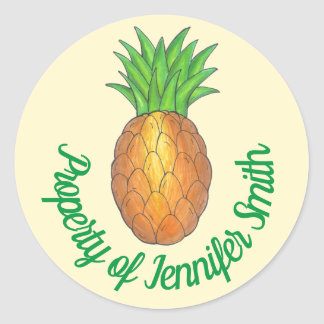 PROPERTY OF Personalized Tropical Pineapple Fruit Classic Round Sticker