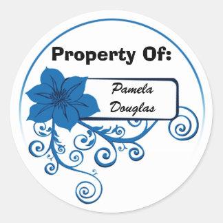Property Of Sticker (floral blue)