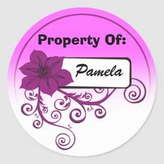 Property Of Sticker (floral purple & background )