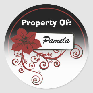 Property Of Sticker (floral red & background )