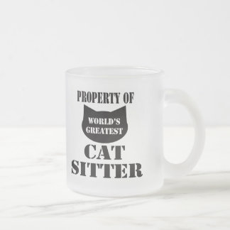 Property of World's Greatest Cat Sitter Frosted Glass Coffee Mug
