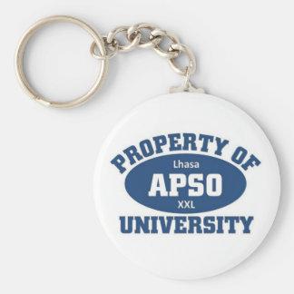 Property of xxl Lhsa Apso university Basic Round Button Key Ring
