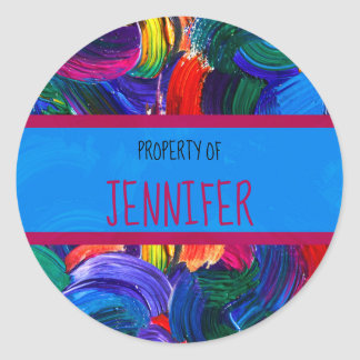 Property of Your Name Faux Painted Classic Round Sticker