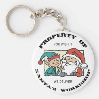 Property Santa's Workshop Basic Round Button Key Ring