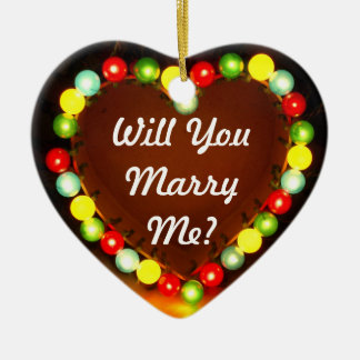 Proposal Heart Light, Will You Marry Me? Ceramic Ornament