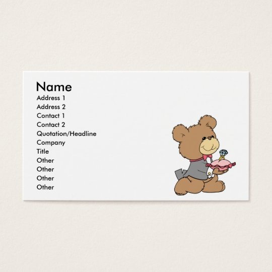 proposal or ring bearer teddy bear design business card