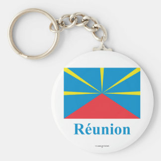 Proposed Reunion Island Flag with Name in French Basic Round Button Key Ring