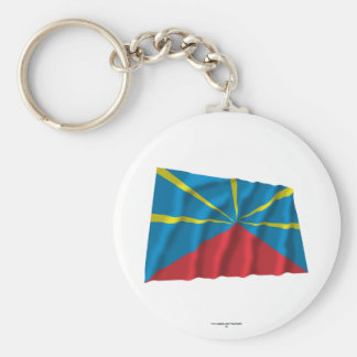 Proposed Reunion Island Waving Flag Basic Round Button Key Ring