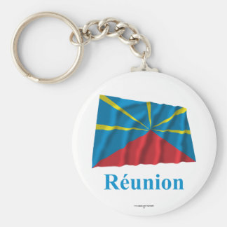 Proposed Reunion Island Waving Flag Name in French Basic Round Button Key Ring