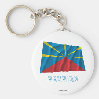 Proposed Reunion Island Waving Flag with Name Key Chain