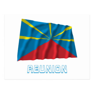 Proposed Reunion Island Waving Flag with Name Postcard