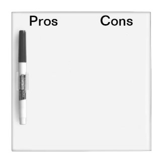 Pros and Cons Marker Board Dry-Erase Board