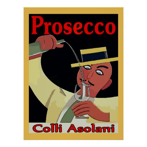 Prosecco, Man with Glass Poster