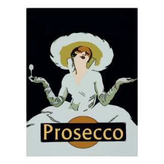 Prosecco, Vintage Style Lady, Sign Poster
