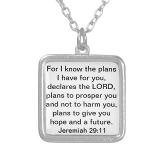 Prosper Jeremiah 29:11 bible verse Silver Plated Necklace