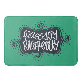 Prosperity Whimsical ornate script Navy and Teal Bath Mat
