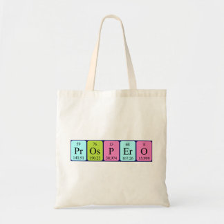 Prospero periodic table name tote bag
