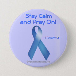 Prostate Cancer Blue Ribbon 7.5 Cm Round Badge