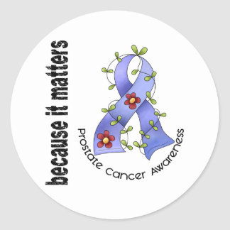 PROSTATE CANCER Flower Ribbon 3 Stickers