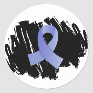 Prostate Cancer Light Blue Ribbon With Scribble Round Sticker