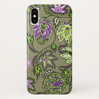 Protea Batik Hawaiian Tropical Floral Khaki iPhone X Case