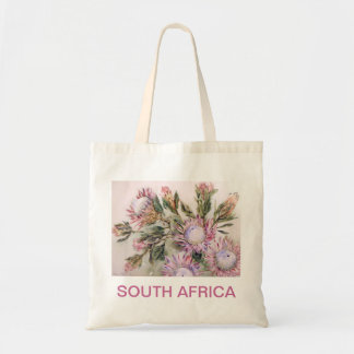 Protea design with pink lettering tote bag